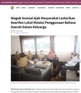 Pak Wagub Sumsel Suka Dengan Bahasa Kiasan